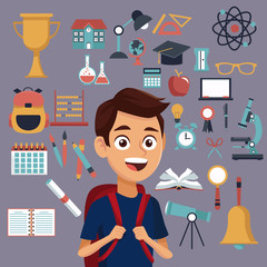 color background with set school elements and student with bag