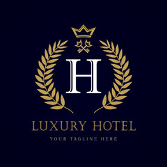 "Luxury Hotel crown and key letter ""H"" monogram logo. Laurel elegant beautiful round logo with crown and key. Vector letter emblem sign H for Royalty, Restaurant, Boutique, Hotel, Heraldic, Jewelry"