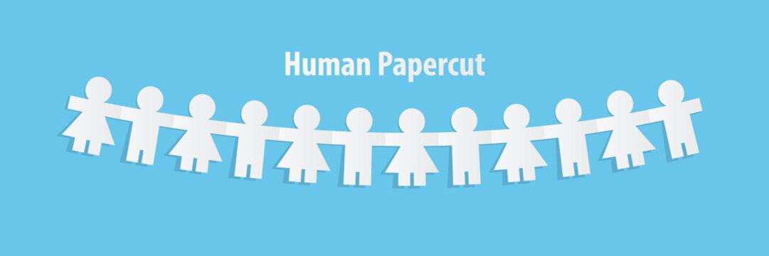 Human paper cut illustration vector on blue background. Teamwork concept.