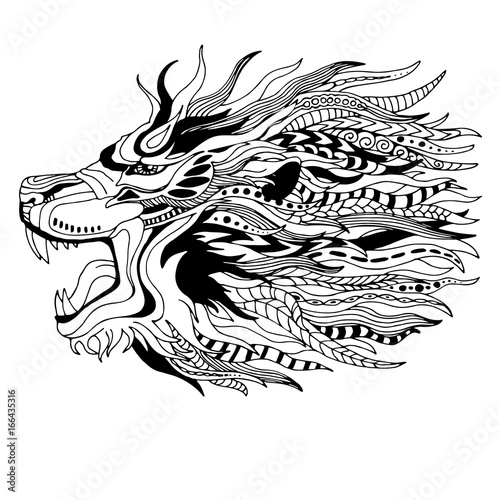 Black White Lion Head Zen Art Style Tattoo Design Stock