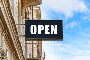 Open sign at facade
