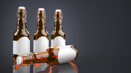 Beer bottle with blank label side by side.
