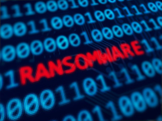Ransomware  red text between blue binary data background blue screen 3d rendered with depth of field
