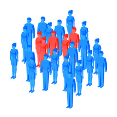 Some red isometric people standing among blue crowd