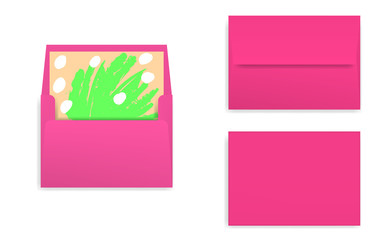 Mock-up of bright pink, decorated envelope with rectangle flip.