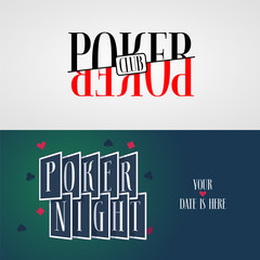 Poker vector logo, symbols collection. Playing cards suits's colors - black and red in template design element for gambling concept