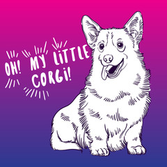 Cute vector illustration with Welsh Corgi. Home dog. Perfect for printing clothes or stickers or coloring books.