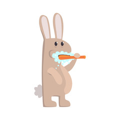 Cute cartoon bunny brushing teeth with tooth brush and paste colorful character, animal grooming vector Illustration