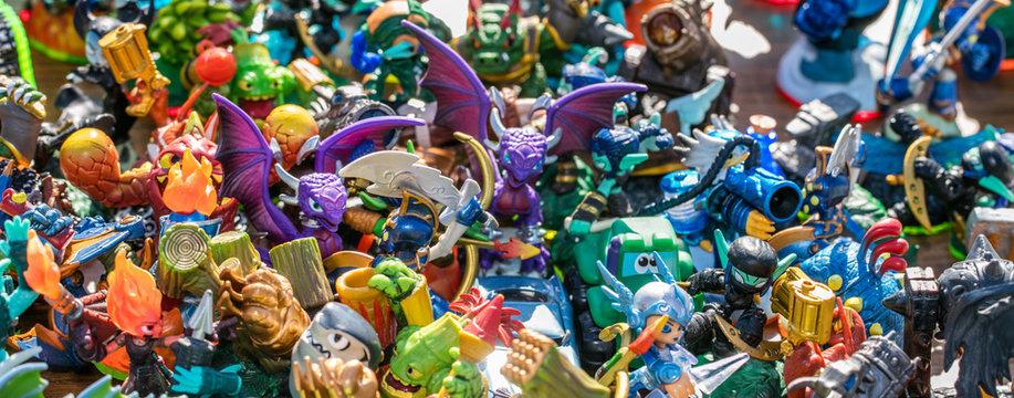 plastic miniatures sold for childhood consumption at garage sale
