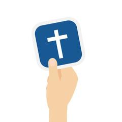 Hand hält Bierdeckel mit Kreuz