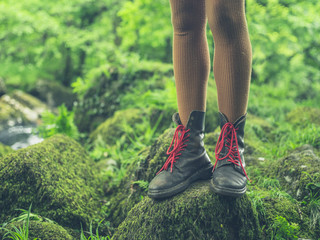 Legs of young woman in nature