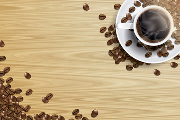 coffee cup and coffee beans on the wooden table in the morning