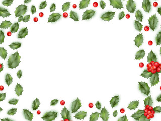 Framed holly isolated on white background. EPS 10 vector