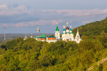 Pechersky Ascension Monastery and cable car cabin in Nizhny Novgorod