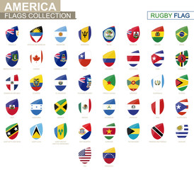 American countries flags collection. Rugby flag set.