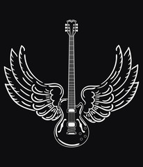 Electric guitar with wings. Stylized electric guitar with angel wings. Black and white illustration of a musical instrument. Rock concert. Musical emblem. Tattoo.