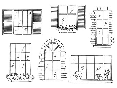 Windows set graphic black white isolated sketch illustration vector