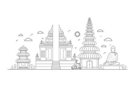 Bali Thin Line Art. Vector
