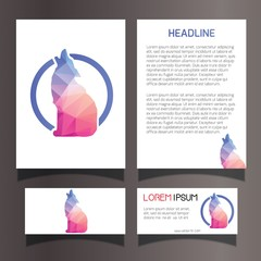 Invitation Brochure Flyer Business Card Template Set Lowpoly Geometric Illustration