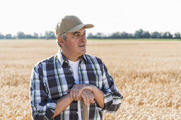 Portrait of senior farmer standing in front of a field looking at distance