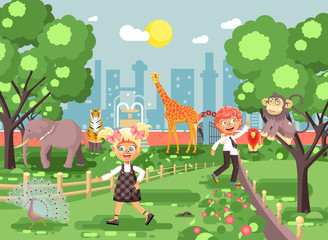 Vector illustration or banner for site with schoolchildren, classmates on walk, school zoo excursion zoological garden, boy and girl watching wild animals and birds flat style, city background