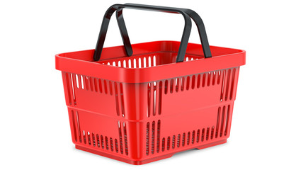A studio render ,of an empty shopping basket, 3d illustration, isolated on white background