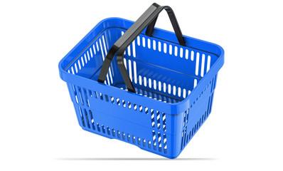 Falling blue empty shopping basket. 3d illustration, 3D render, isolated on white background