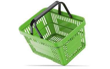 Falling green empty shopping basket. 3d illustration, 3D render, isolated on white background