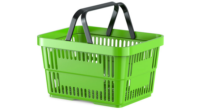 3D rendering of a green shopping basket, 3D illustration, isolated on white background