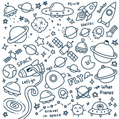 Set of Cute Travel in Space Doodle