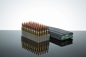 .223 rounds bullets magazine loaded ammunition brass