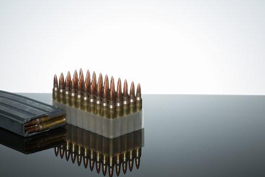 .223 rounds bullets magazine loaded ammunition brass