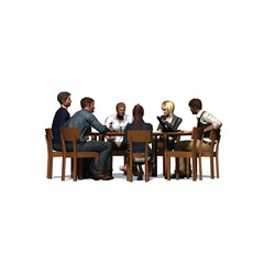 People sitting at a round table in a meeting - business 2- isolated on white background