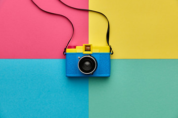 Fashion Film Camera. Hot Summer Vibes. Pop Art. Creative Retro Design camera. Hipster Trendy Accessories. Sunny summer Still life. Bright Sweet fashion Style. Surreal, Minimal Fun.Vanilla Pastel Color