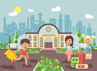 Vector illustration of cartoon characters children, late boy running, two little girls standing at railway station building with bags and suitcases awaiting train flat style city background