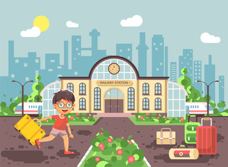 Vector illustration of cartoon character child, late boy running at railway station building with bags and suitcases awaiting train for travel trip holiday weekend in flat style city background