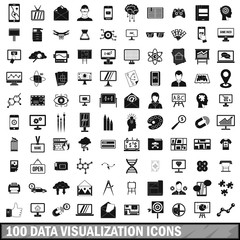100 data visualization icons set, simple style