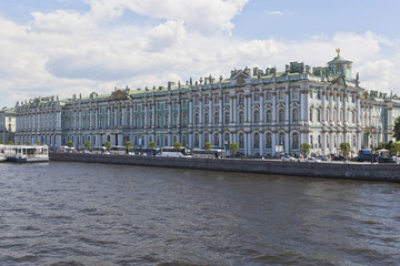 View of the Winter Palace from the Palace Bridge on a summer sunny day in St. Petersburg, Russia