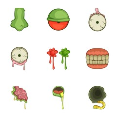 Halloween zombie sticker icons set, cartoon style