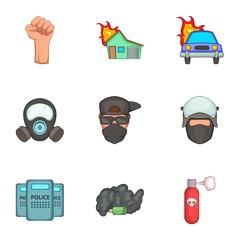 Public unrest icons set, cartoon style