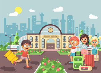 Vector illustration cartoon characters late boy and girl running to little children standing at railway station building with bags and suitcases awaiting train flat style city background