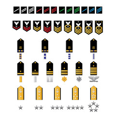 Naval Style Military Ranks Vector Illustration