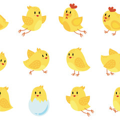 Seamless pattern with cheerful chickens. Wallpapers with yellow chicks. Prints for children. Illustration for textiles. Art.