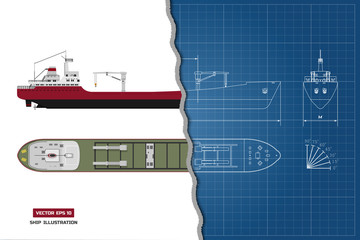 Blueprint of cargo ship. Top, side and front view. Container transport