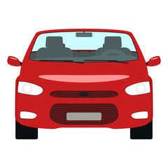 Vector cartoon red car cabriolet front view