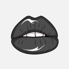 Black glamour lips. Sexy lips cartoon. Vector stock.