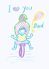 Childs crayon drawing of a Father's Day card