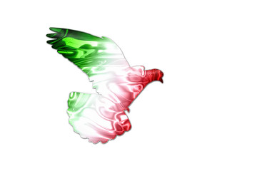 Mexican flag colors on a silhouette of a dove