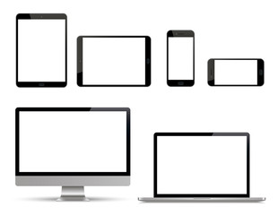 Realistic set of monitor, laptop, tablet, smartphone. Device collection - Stock Vector