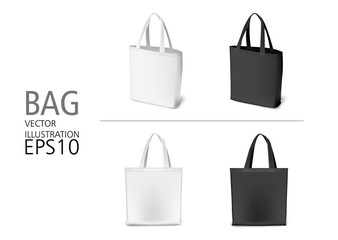 Set of natural canvas material  shopping bags black and white color. Eco style realistic bag templates for sale, shopping, promotion, corporate identity, demonstration